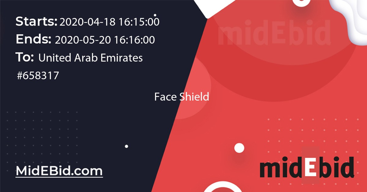 #658317 bid for Face Shield  in United Arab Emirates image banner