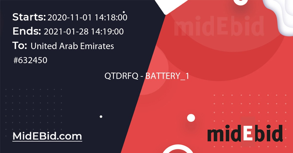 #632450 bid for QTDRFQ - BATTERY_1 in United Arab Emirates image banner