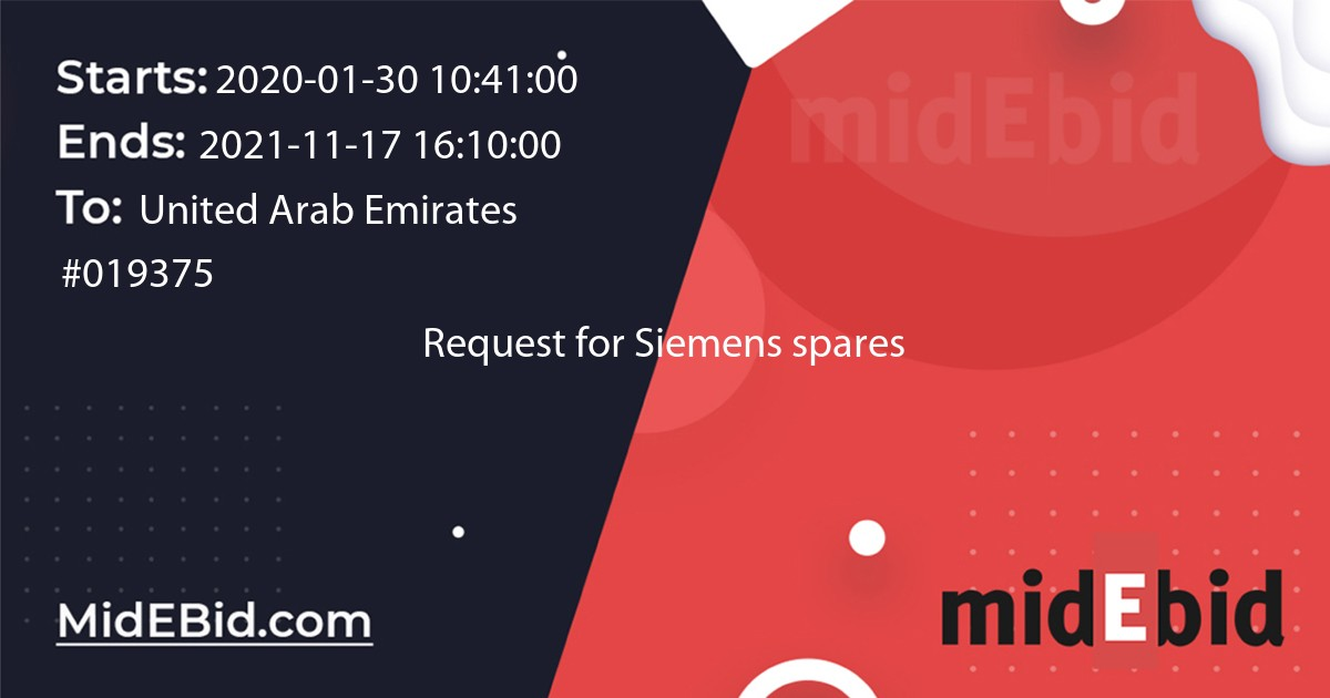 #019375 bid for Request for Siemens spares in United Arab Emirates image banner