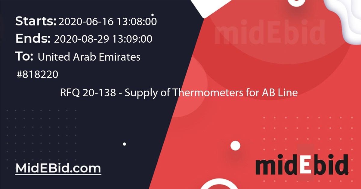 #818220 bid for RFQ 20-138 - Supply of Thermometers for AB Line  in United Arab Emirates image banner