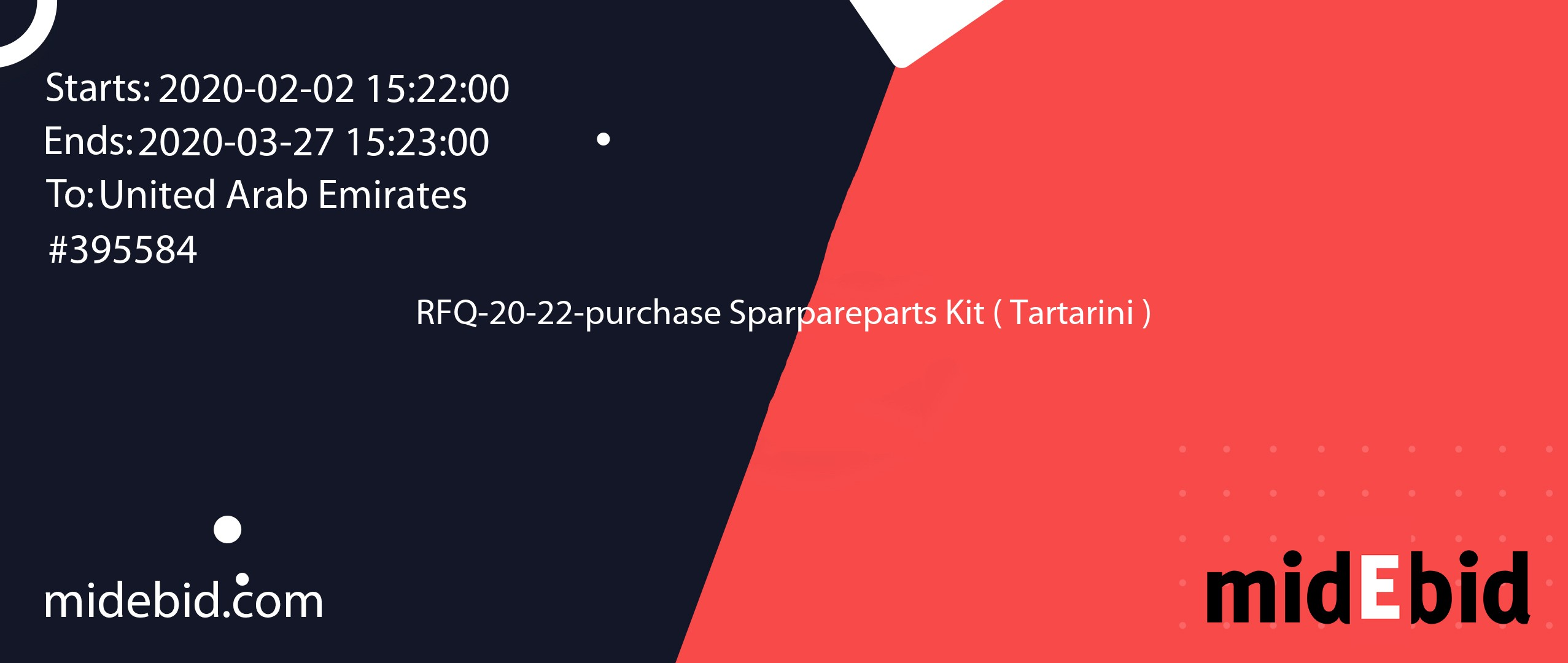 #395584 bid for RFQ-20-22-purchase Sparpareparts Kit ( Tartarini ) in United Arab Emirates image banner