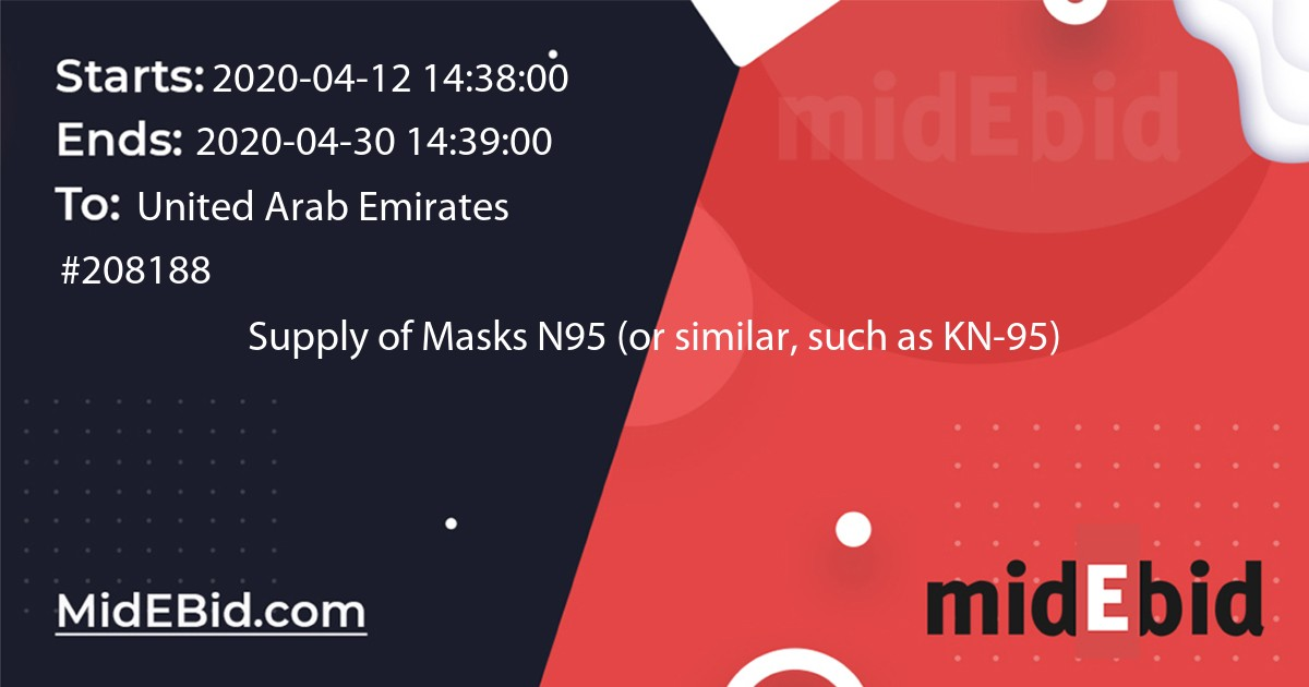#208188 bid for Supply of Masks N95 (or similar, such as KN-95) in United Arab Emirates image banner
